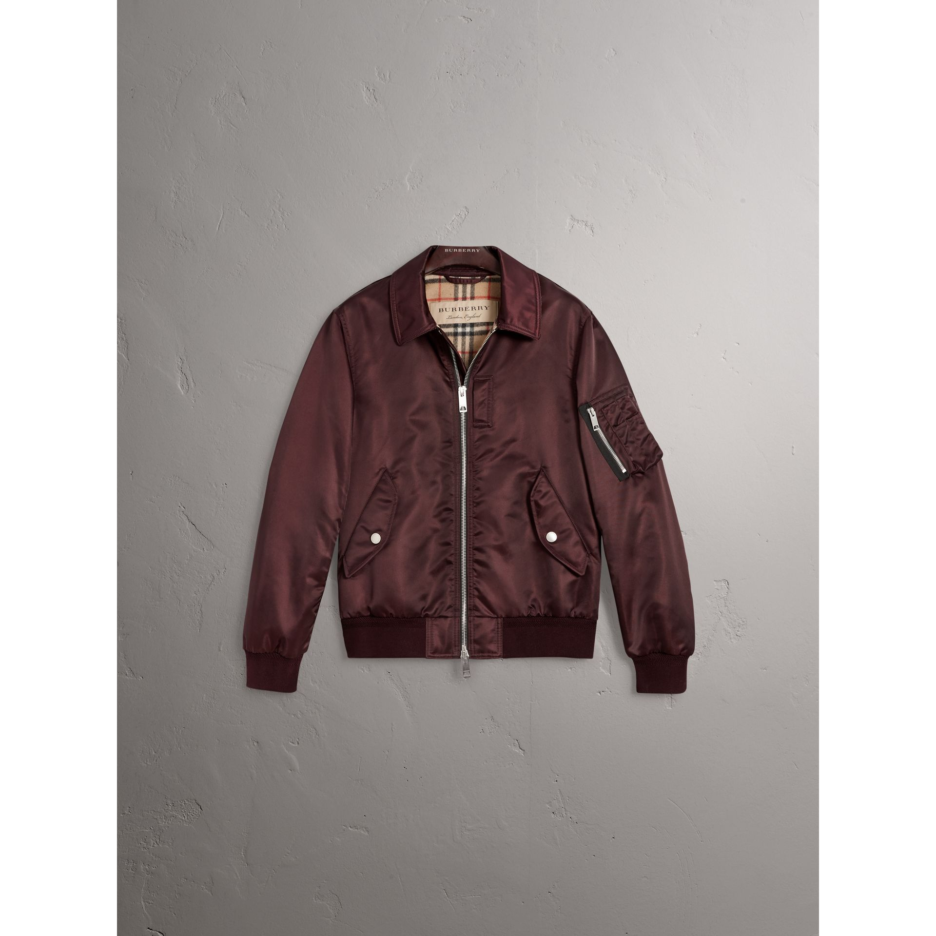 Point Collar Bomber Jacket in Claret - Men | Burberry Canada - gallery image 4