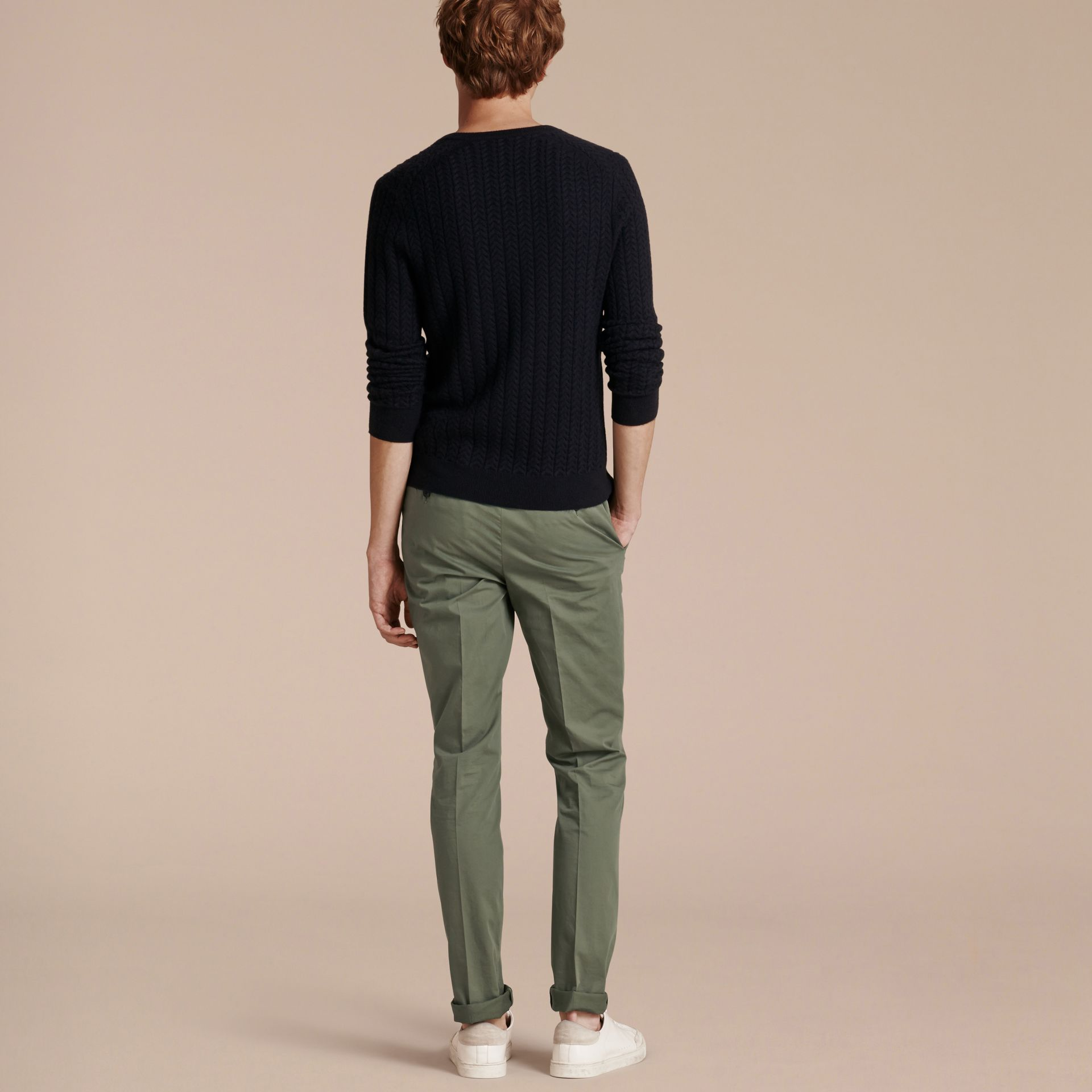 Slim Fit Stretch Cotton Trousers Khaki Green - gallery image 3