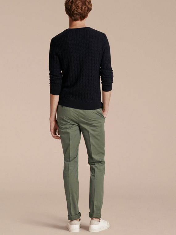 Slim Fit Stretch Cotton Trousers Khaki Green - cell image 2