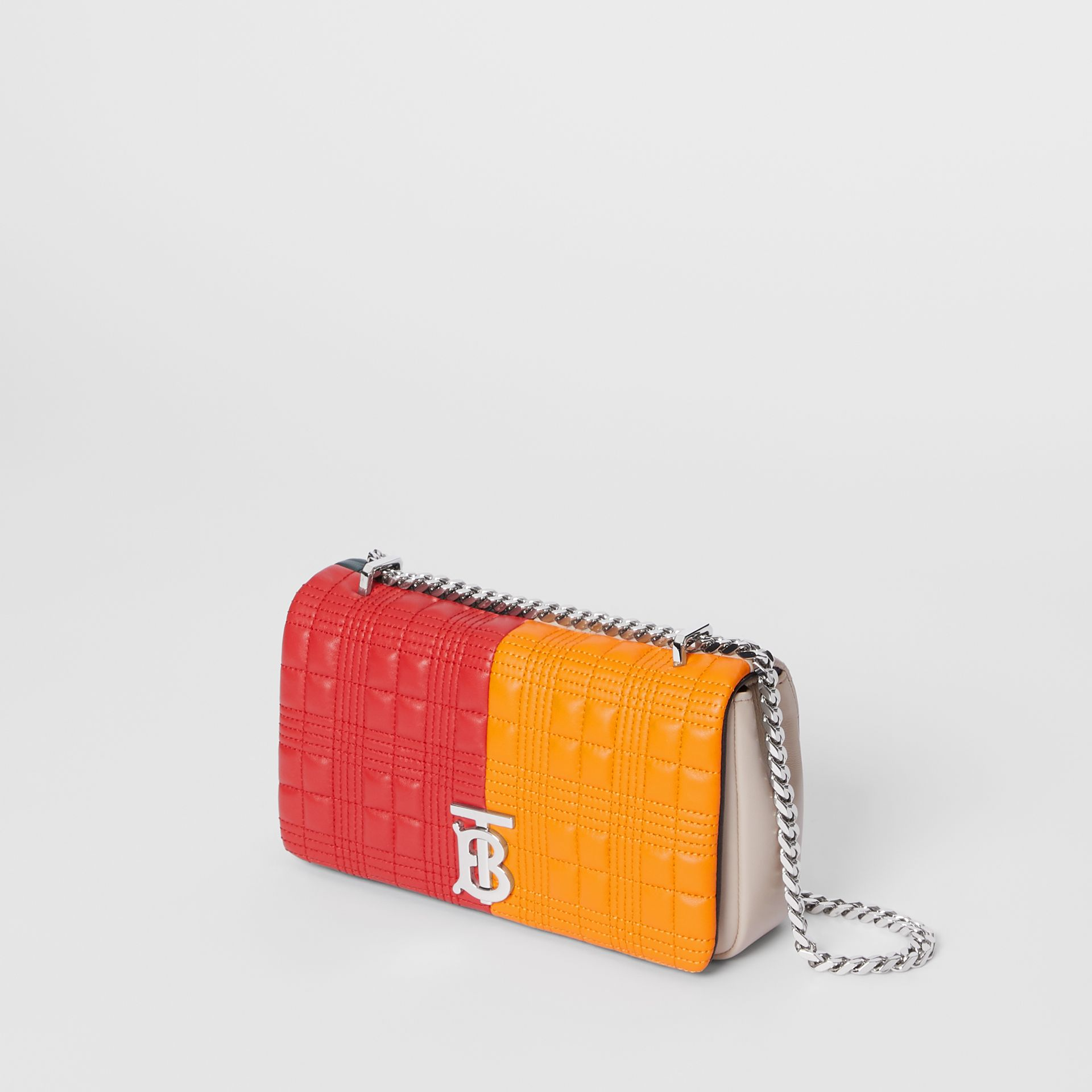Small Quilted Check Colour Block Lambskin Lola Bag in Bright Red/orange - Women | Burberry - gallery image 3