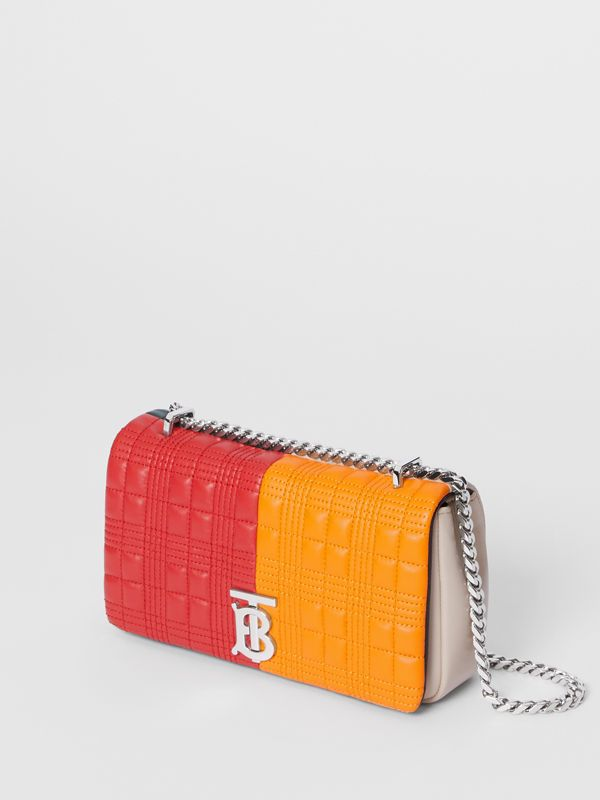 "Kleine Handtasche ""Lola"" aus Lammleder im Colour-Blocking-Design mit Karosteppung (Leuchtendes Rot/orange) - Damen 