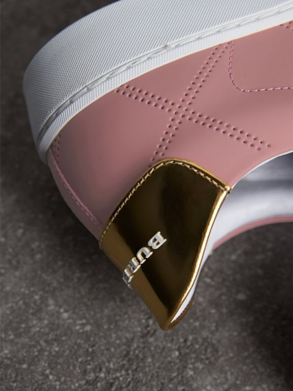 Perforated Check Leather Sneakers in Rose Pink - Women | Burberry United States - cell image 1
