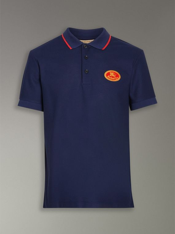 Archive Logo Cotton Piqué Polo Shirt in Navy - Men | Burberry United Kingdom - cell image 3