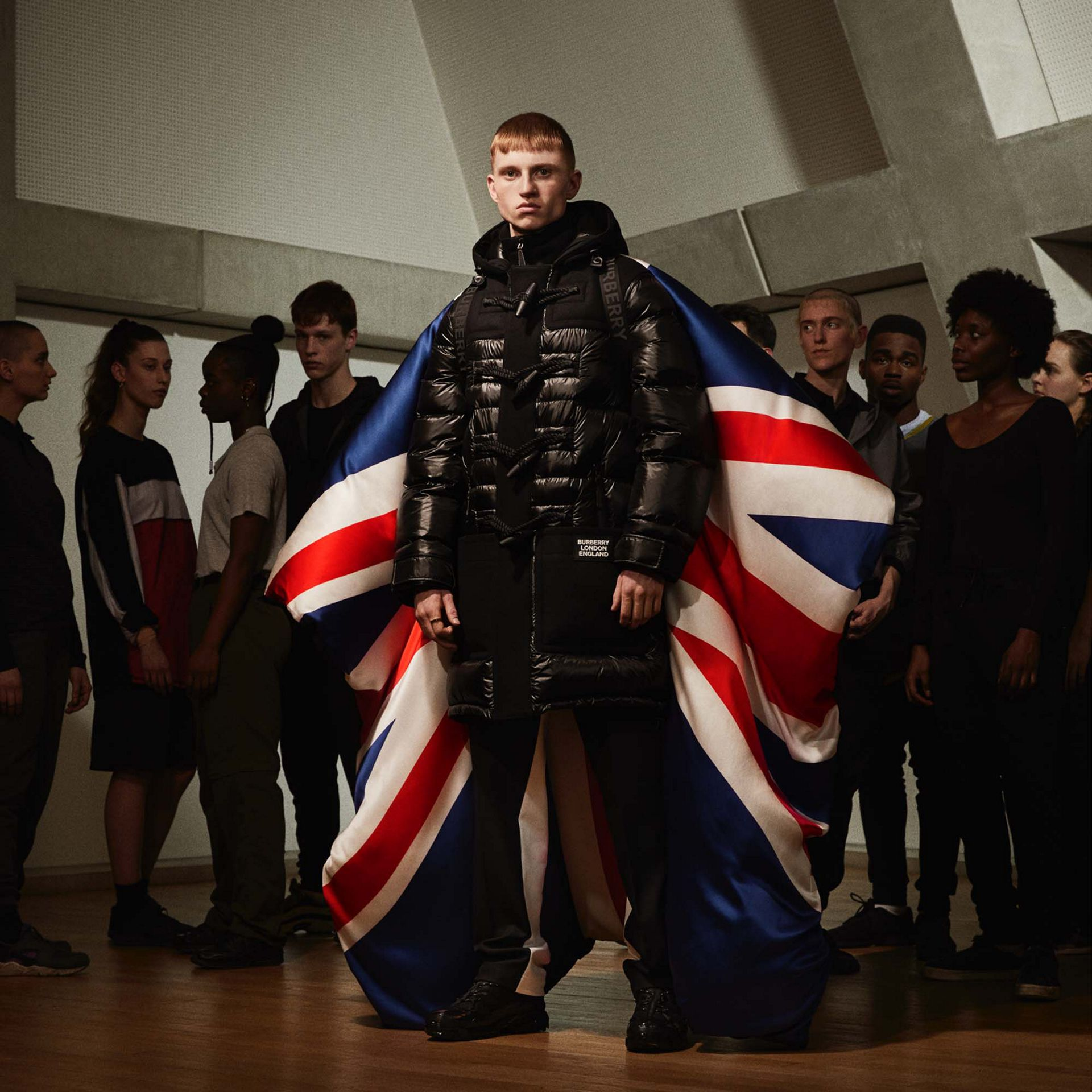Union Jack and Logo Print Oversized Puffer Cape in Multicolour | Burberry United States - gallery image 1