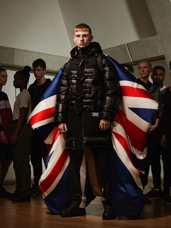 Union Jack and Logo Print Oversized Puffer Cape in Multicolour | Burberry United States - cell image 1