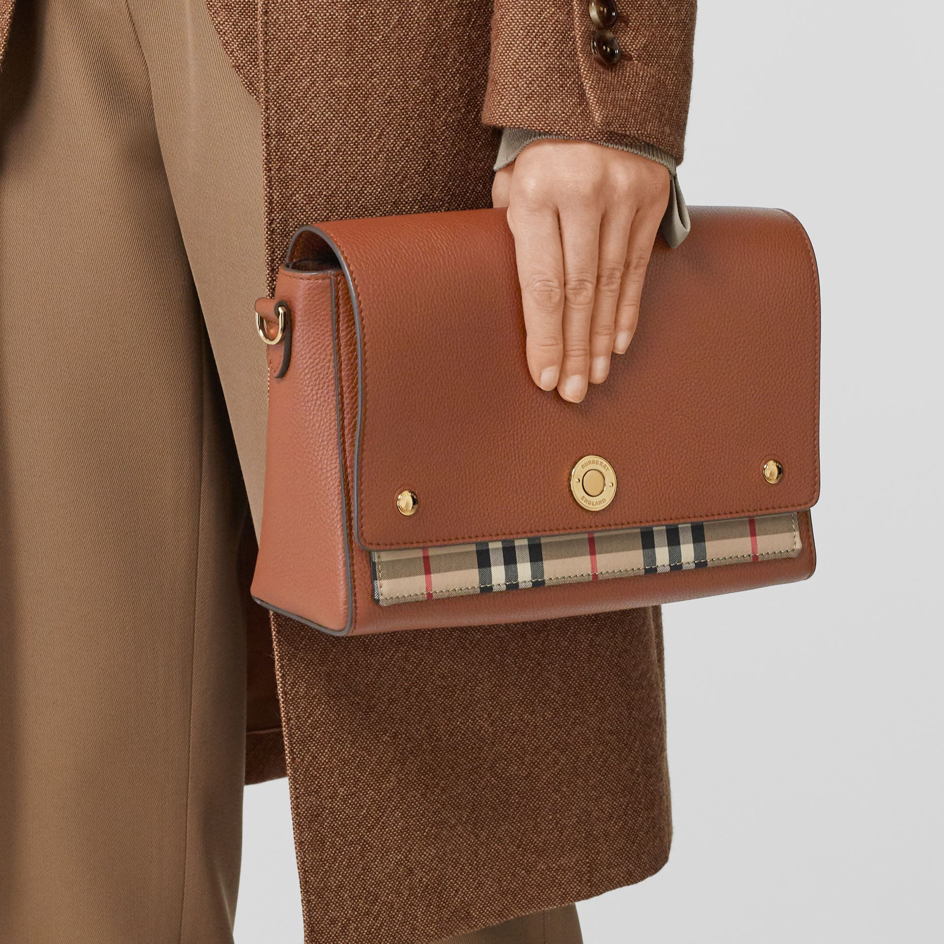 Leather and Vintage Check Note Crossbody Bag in Tan - Women | Burberry United States - gallery image 8