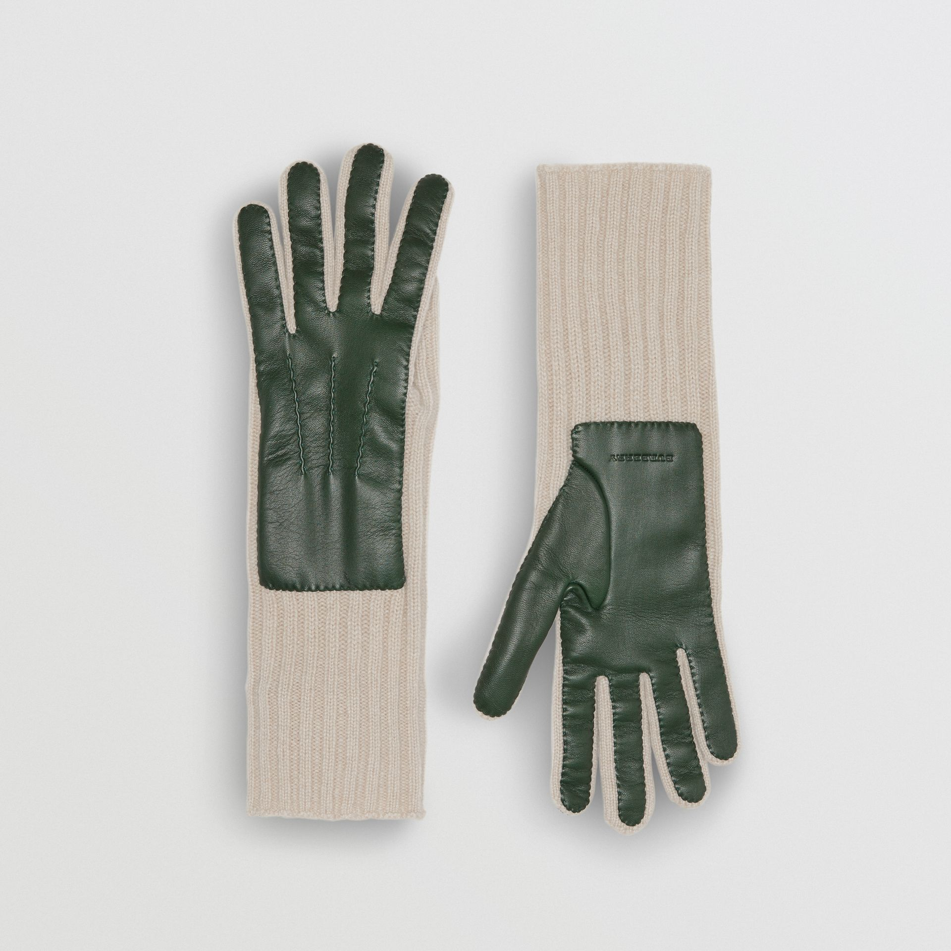 Cashmere and Lambskin Gloves in Dark Forest Green/ White - Women | Burberry - gallery image 0