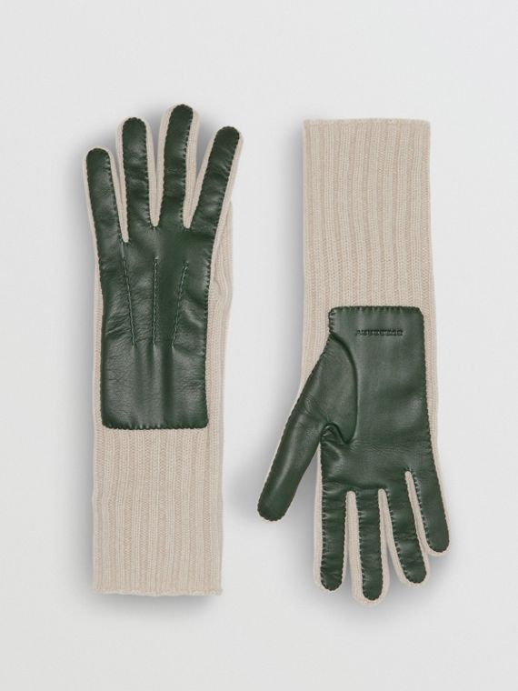 Handschuhe aus Kaschmir und Lammleder (Dunkles Waldgrün/weiss)