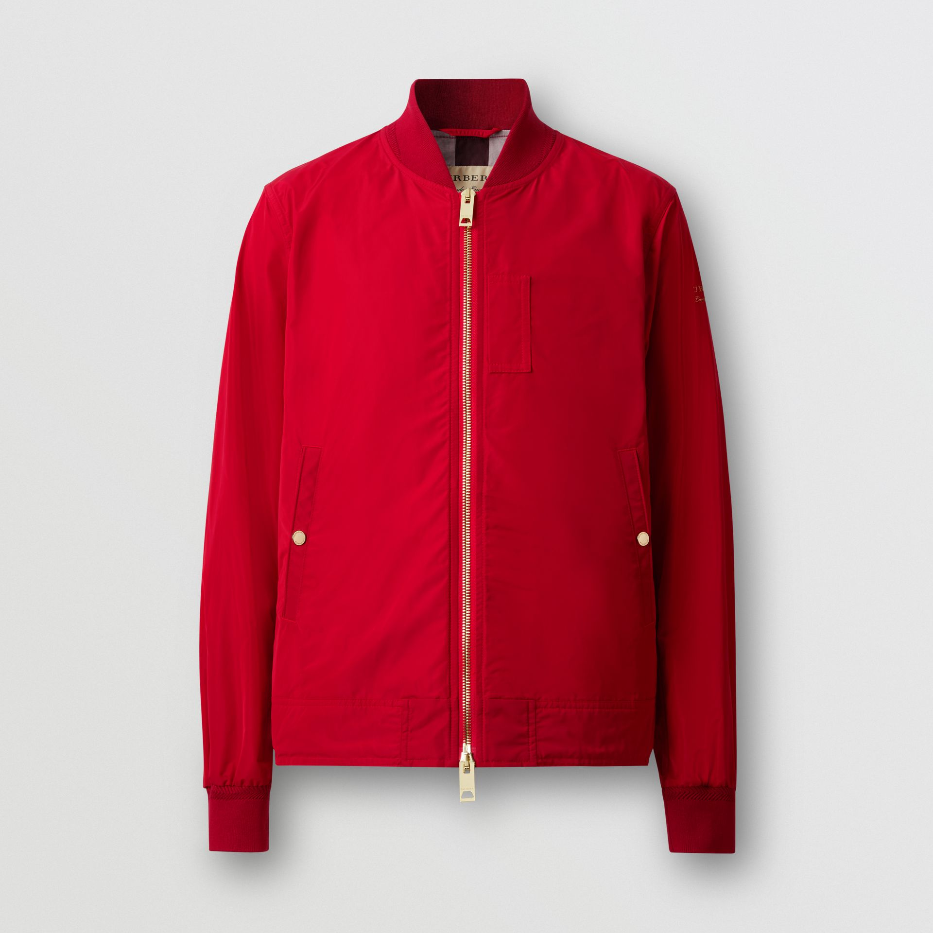 Logo Print Shape-memory Taffeta Bomber Jacket in Military Red - Men | Burberry - gallery image 3