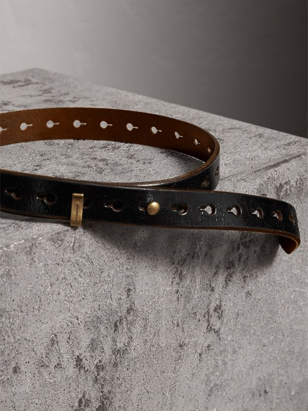 Glossy Leather Belt in Black - Women | Burberry - cell image 3