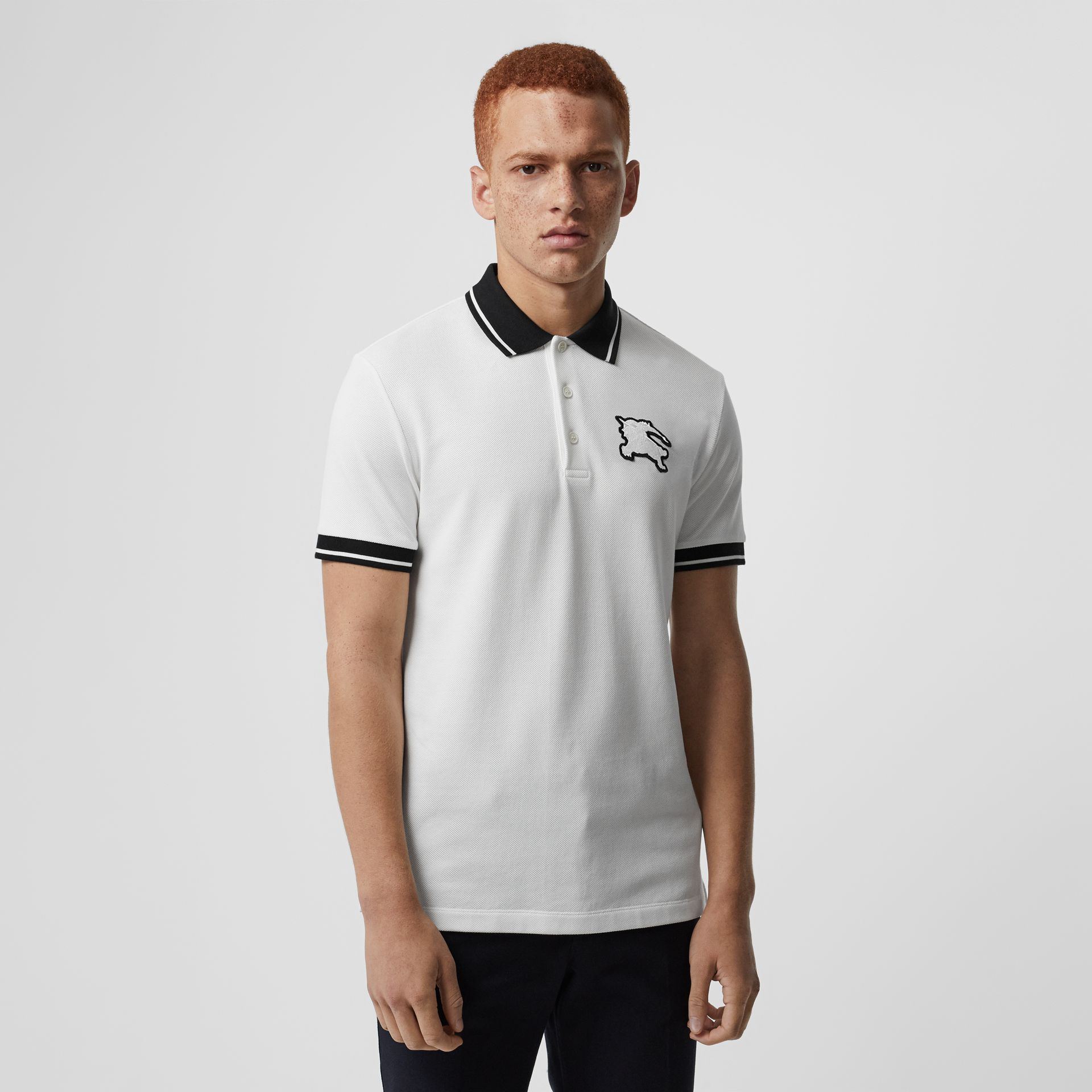 Polo en piqué de coton à bordure colorée (Blanc) - Homme | Burberry - photo de la galerie 0