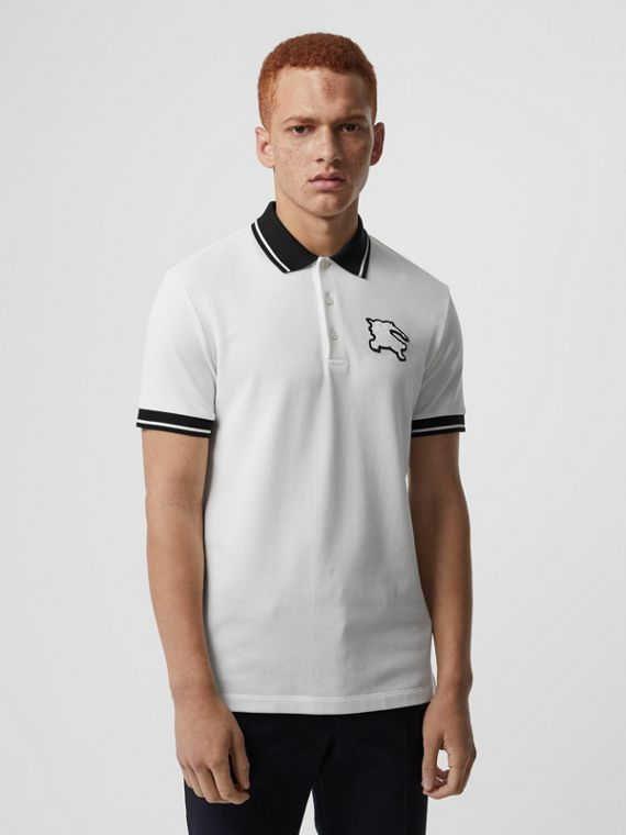 Tipped Cotton Piqué Polo Shirt in White