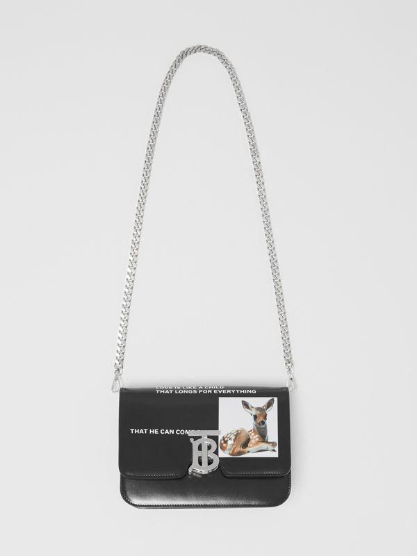Small Montage Print Leather TB Bag in Black - Women | Burberry - cell image 3