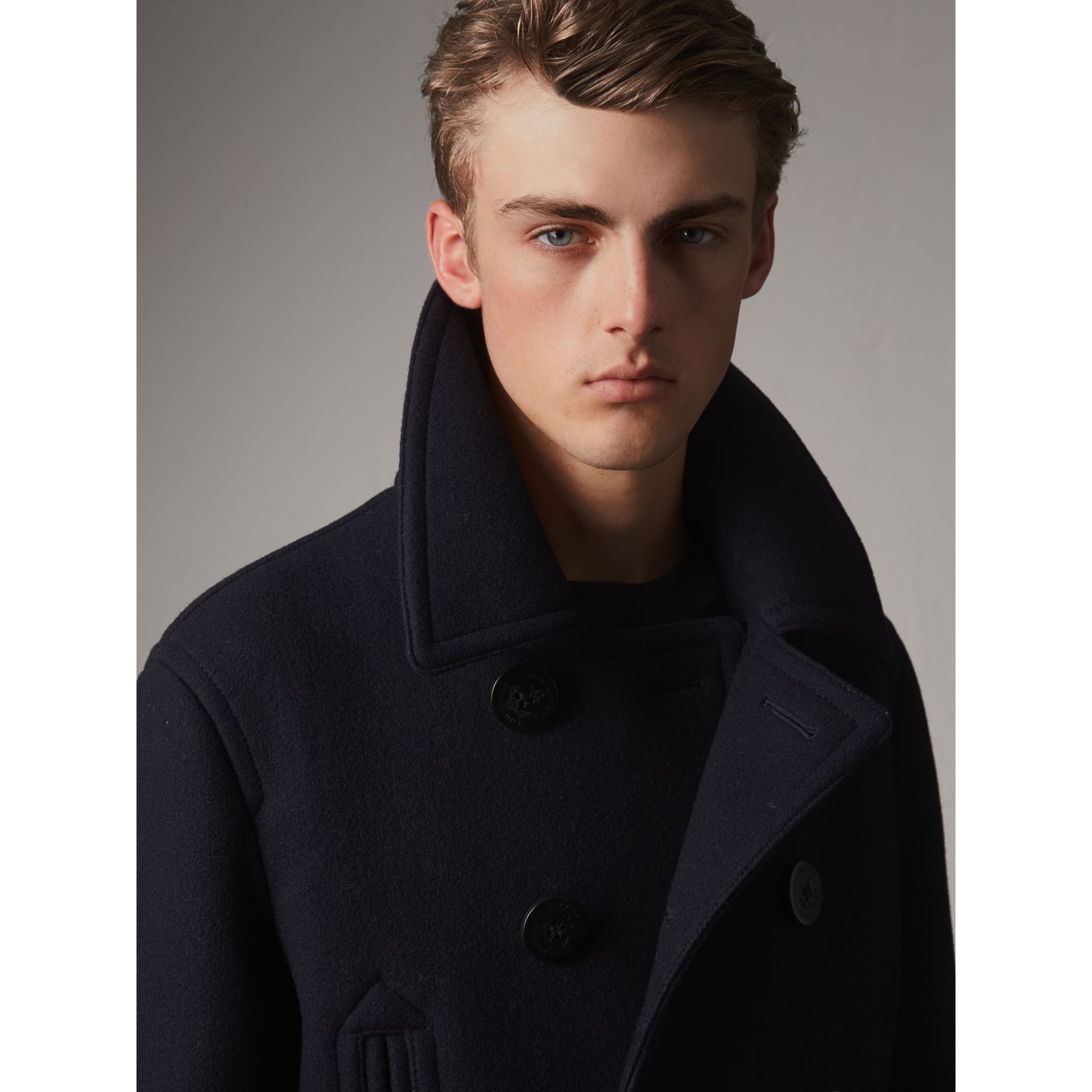 Wool Blend Double-breasted Coat in Navy - Men | Burberry - gallery image 1