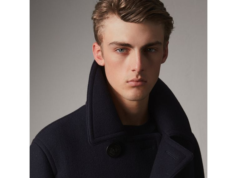 Wool Blend Double-breasted Coat in Navy - Men | Burberry Australia - cell image 1