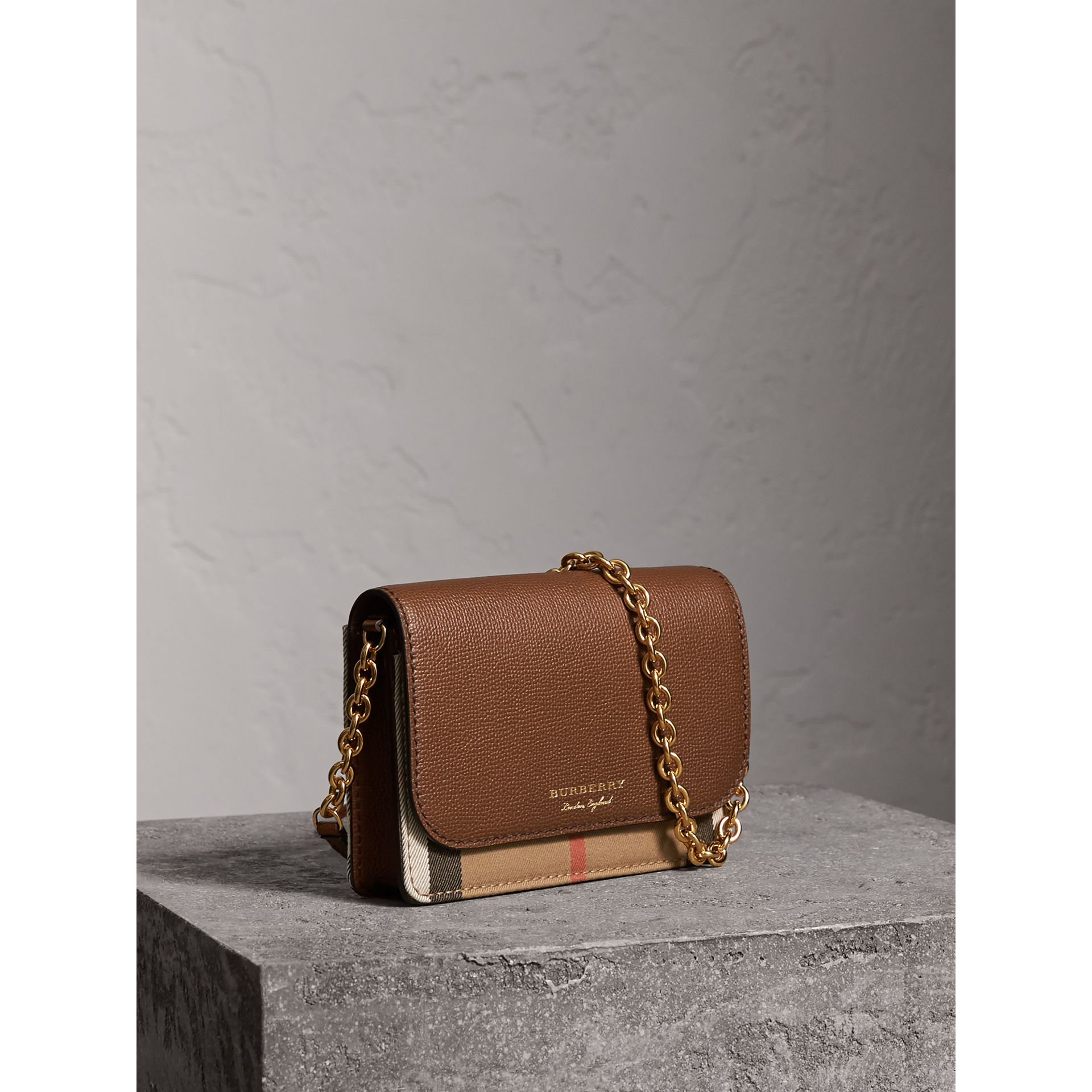 Leather and House Check Wallet with Detachable Strap in Tan - Women | Burberry United States - gallery image 6