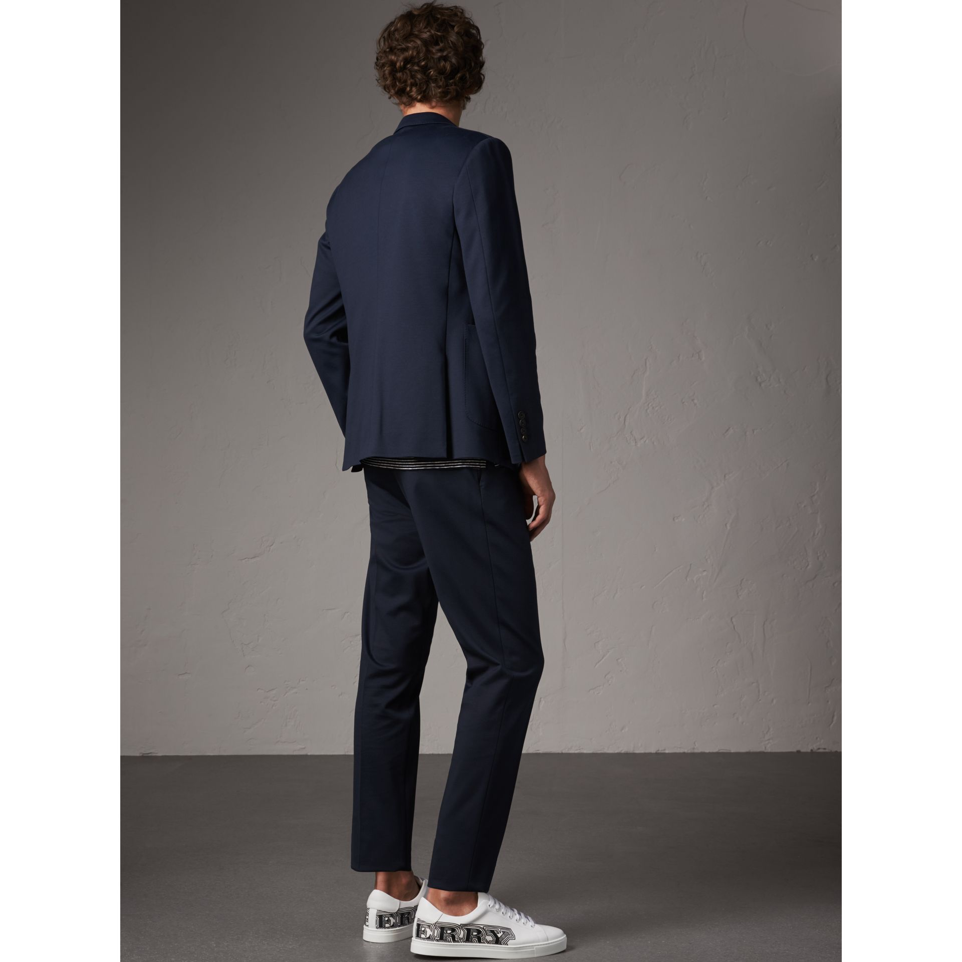 Slim Fit Cotton Blend Travel Tailoring Suit in Navy - Men | Burberry - gallery image 3
