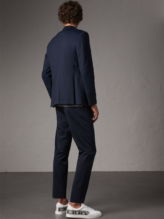 Slim Fit Cotton Blend Travel Tailoring Suit in Navy - Men | Burberry - cell image 2