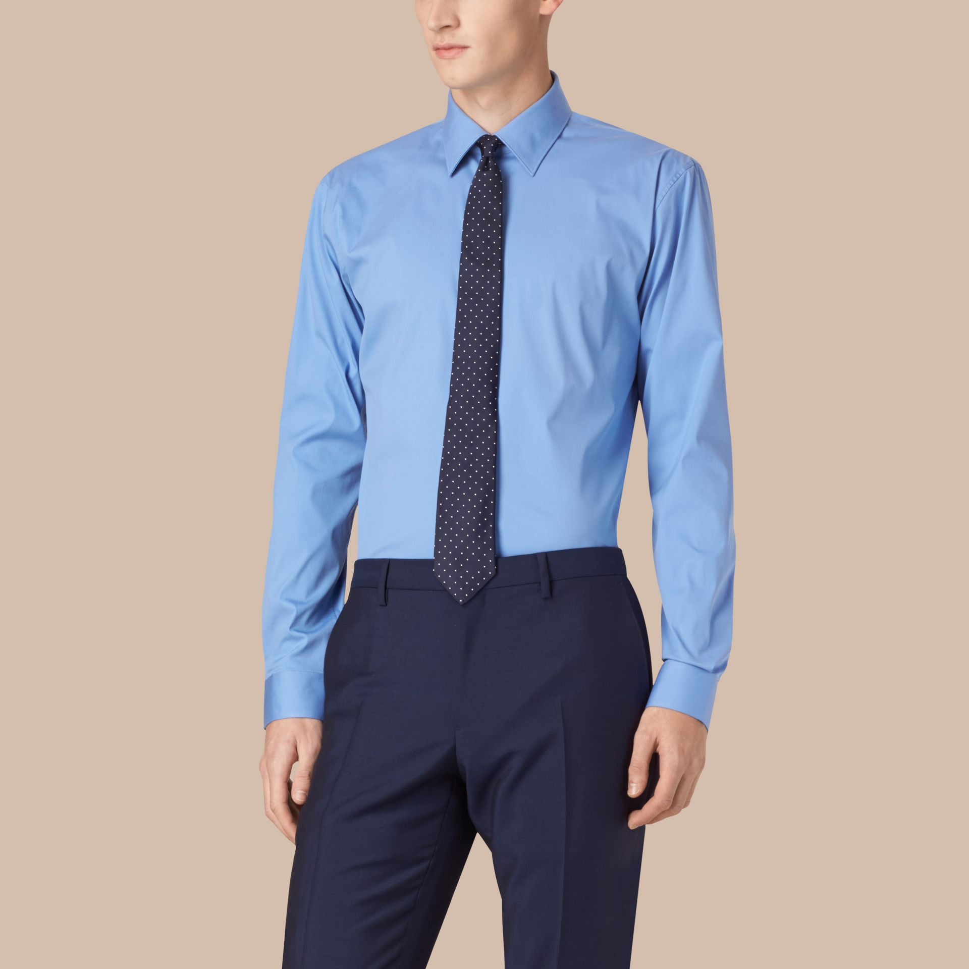 Mid blue Modern Fit Stretch Cotton Shirt Mid Blue - gallery image 1