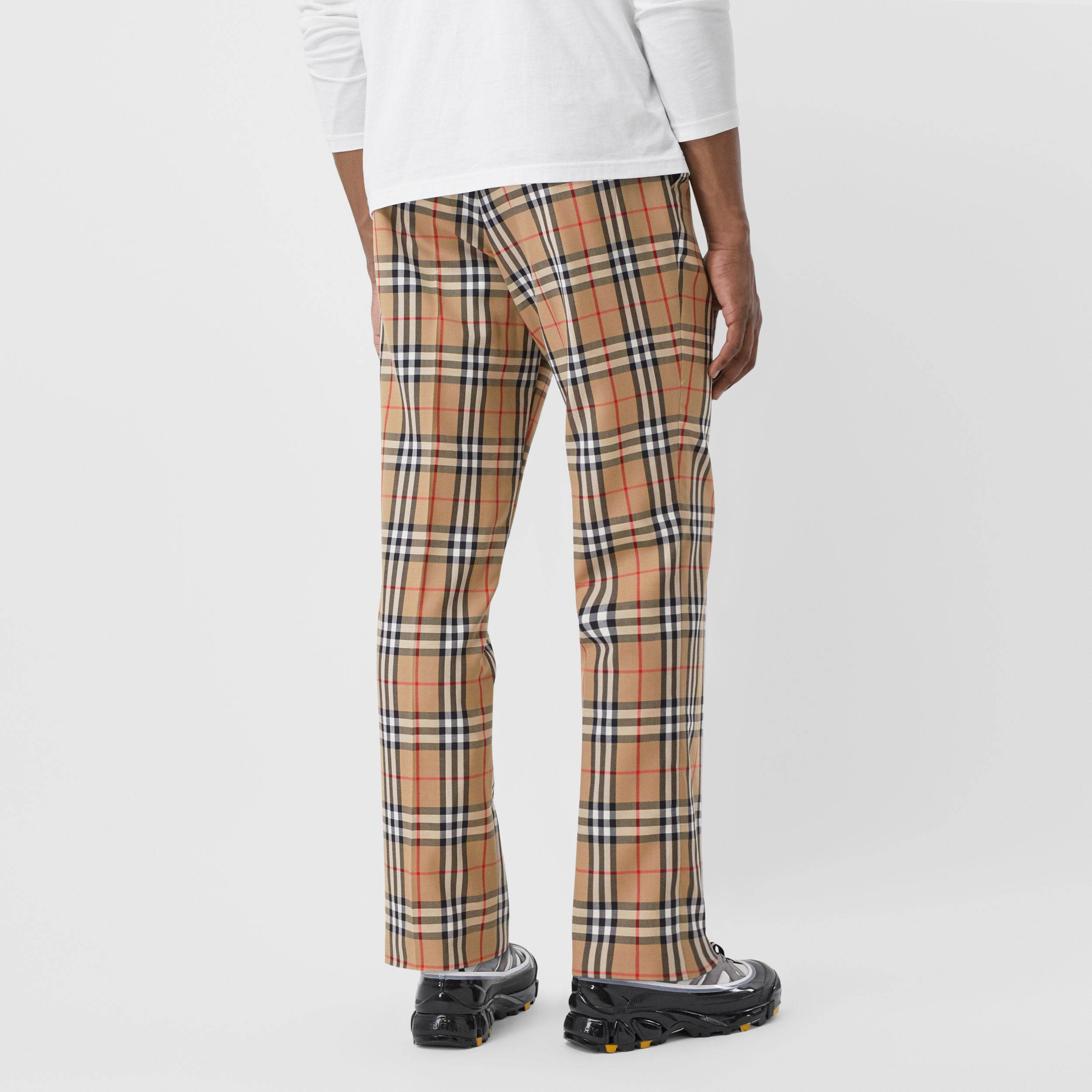 Vintage Check Wool Mohair Tailored Trousers in Archive Beige - Men | Burberry - 3