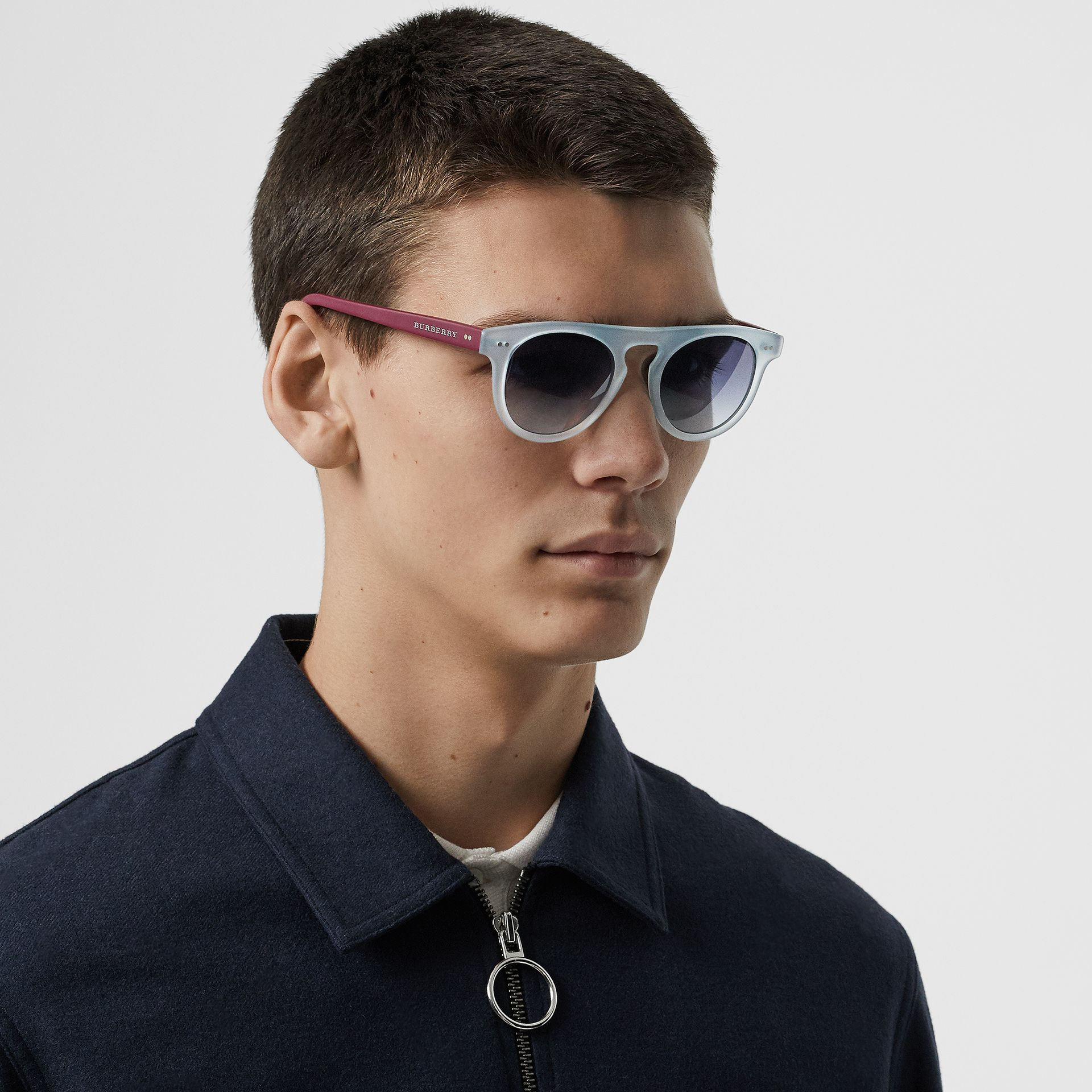 The Keyhole Round Frame Sunglasses in Light Blue | Burberry Singapore - gallery image 3