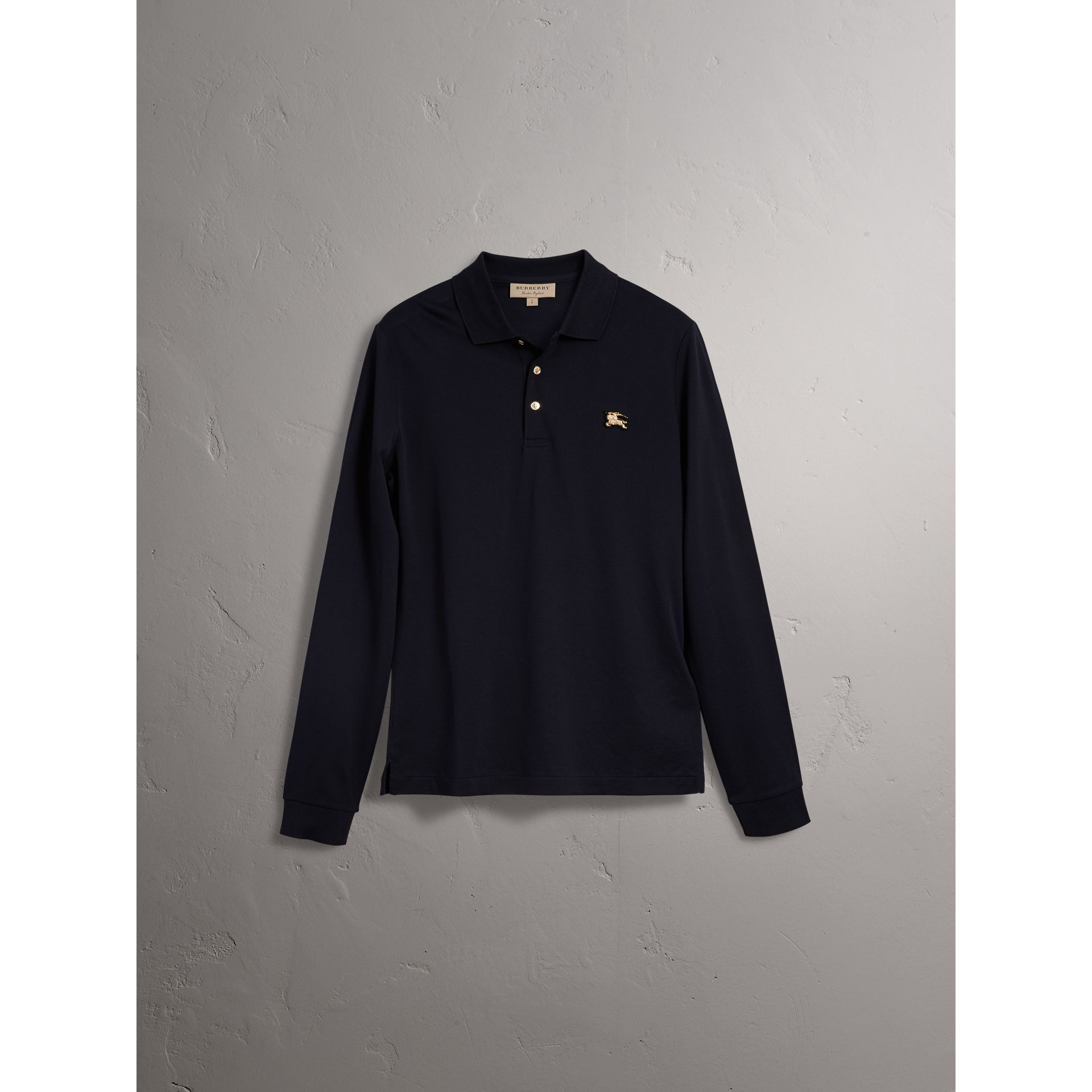 Long-sleeve Cotton Piqué Polo Shirt in Navy - Men | Burberry United Kingdom - gallery image 3