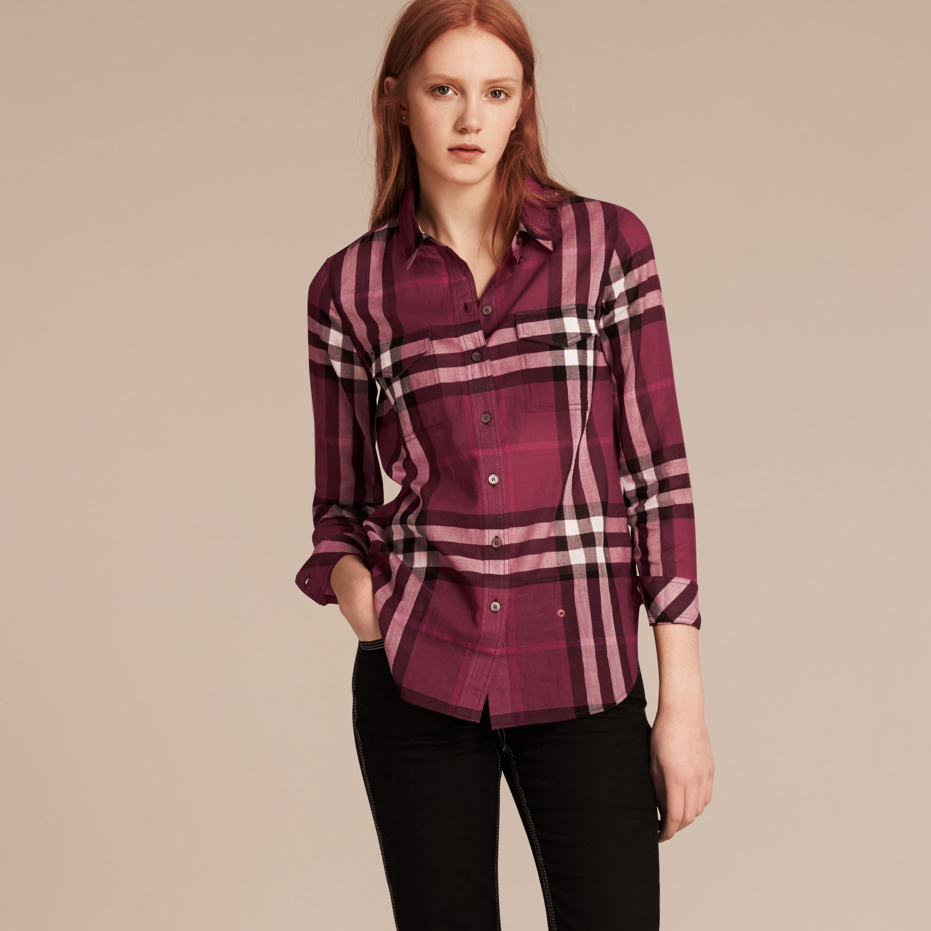 Magenta Check Cotton Shirt Magenta - gallery image 6