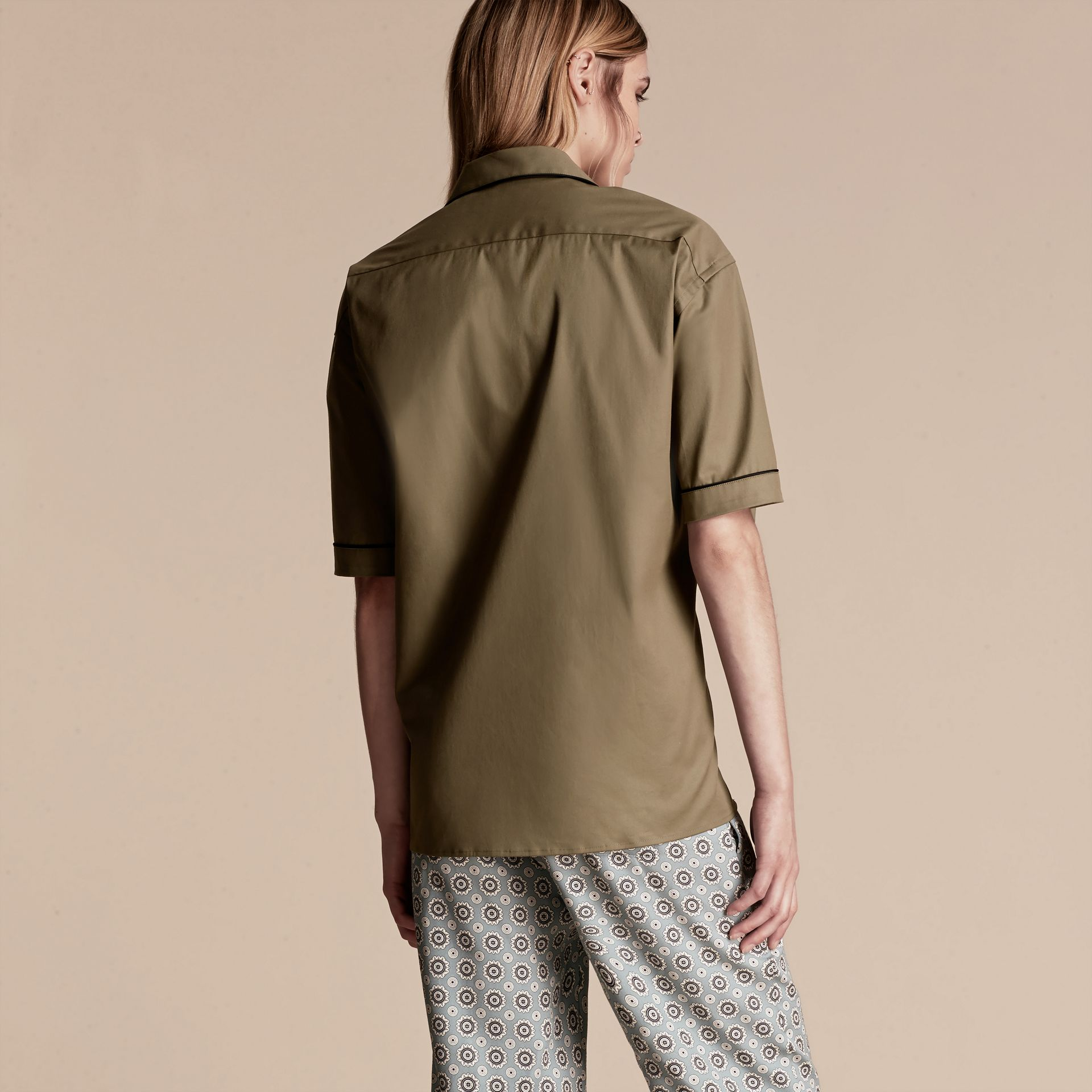 Sage Short-sleeved Stretch Cotton Pyjama-style Shirt - gallery image 3
