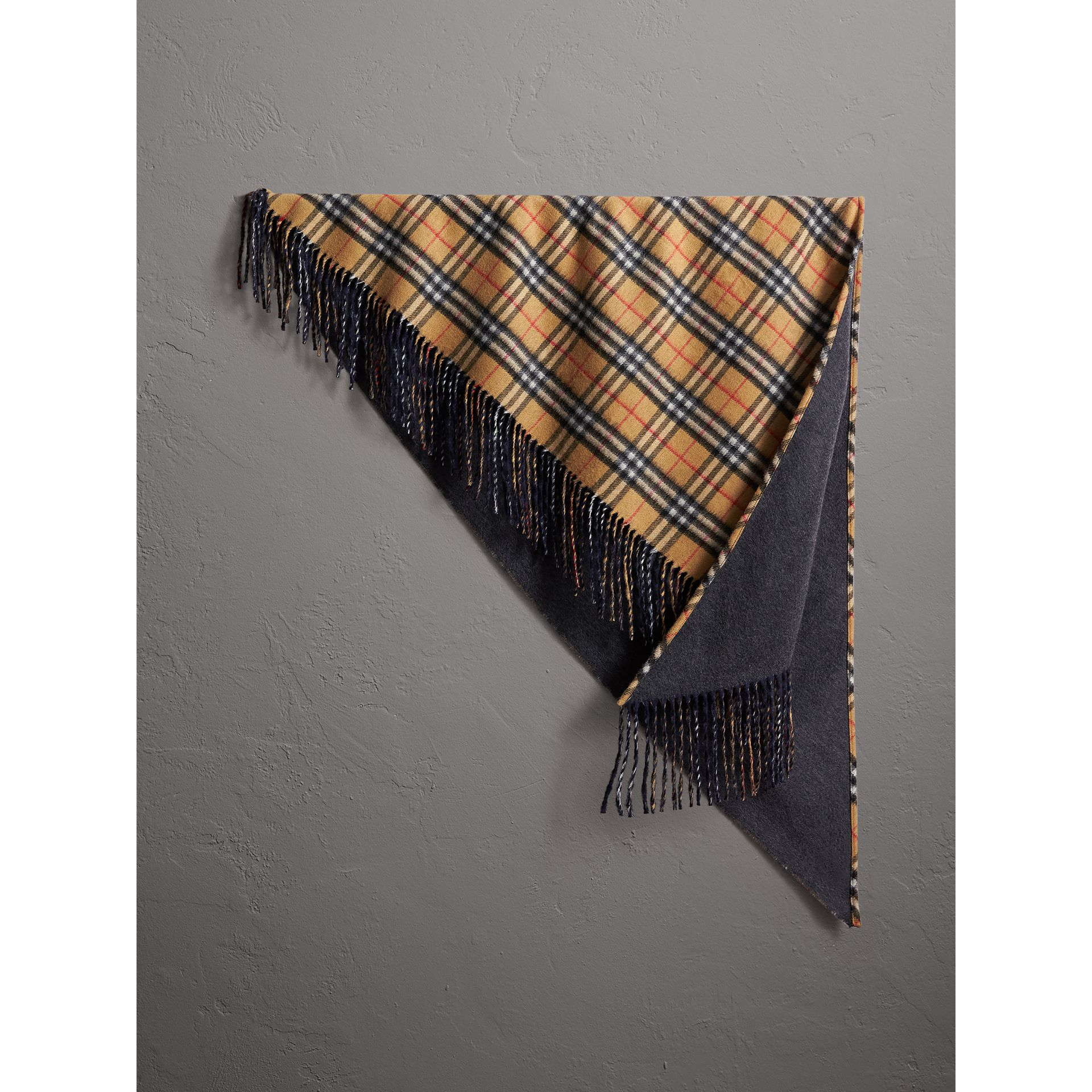 The Burberry Bandana in Vintage Check Cashmere in Blue Carbon | Burberry - gallery image 1