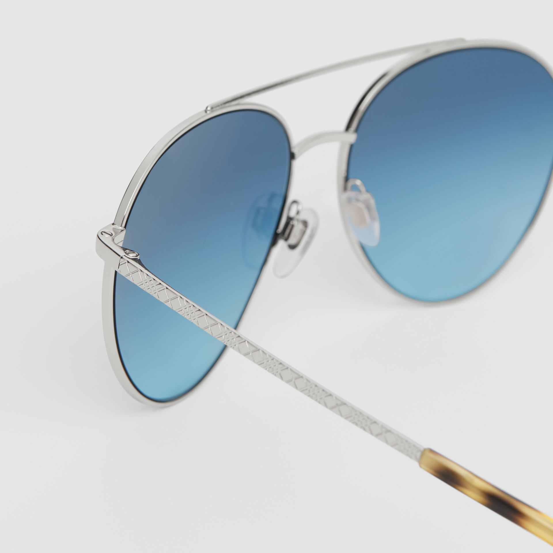 Pilot Sunglasses in Pale Blue - Women | Burberry - gallery image 1