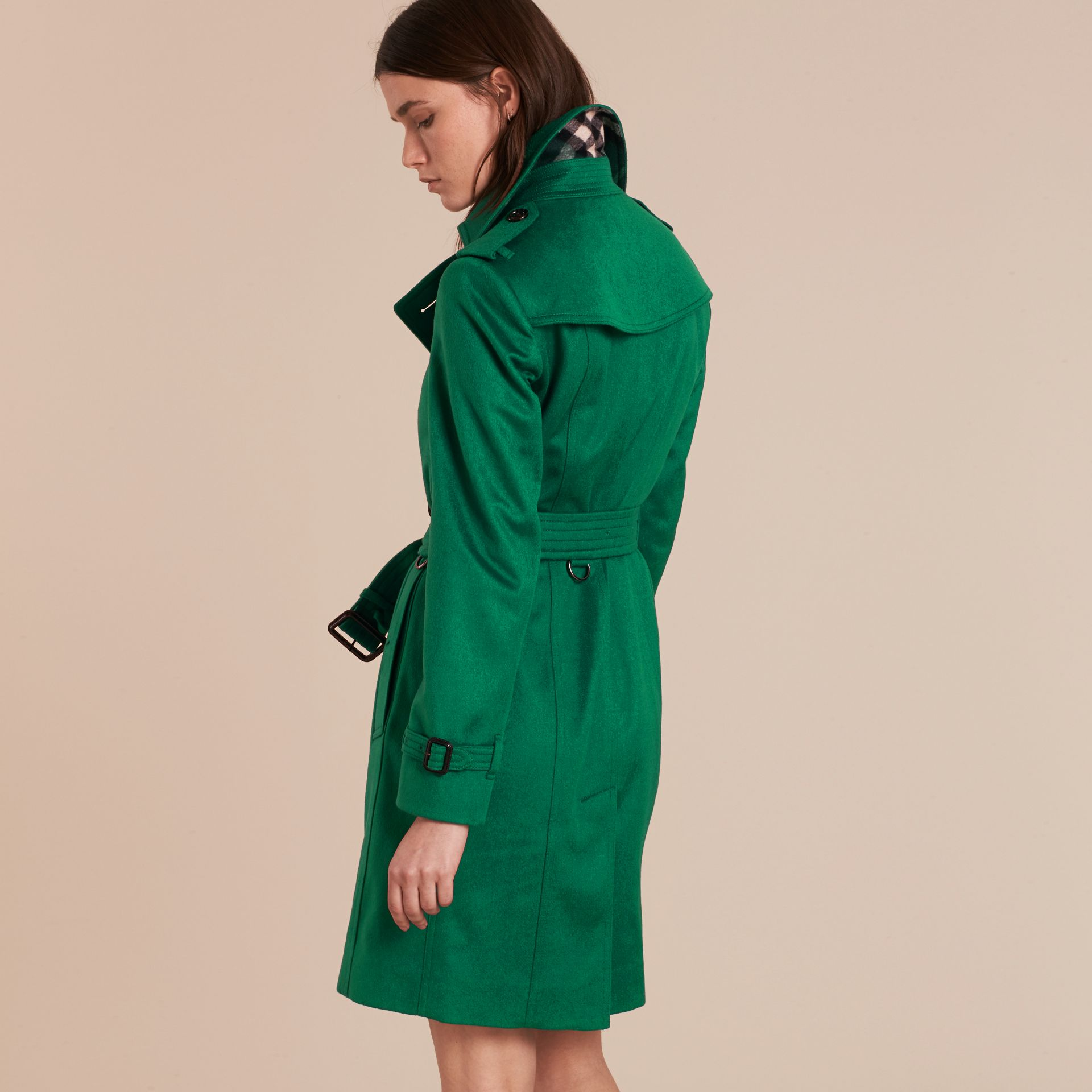 Sandringham Fit Cashmere Trench Coat Kelly Green - gallery image 3
