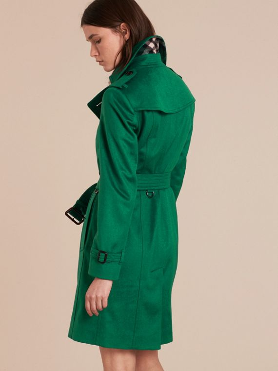 Sandringham Fit Cashmere Trench Coat Kelly Green - cell image 2