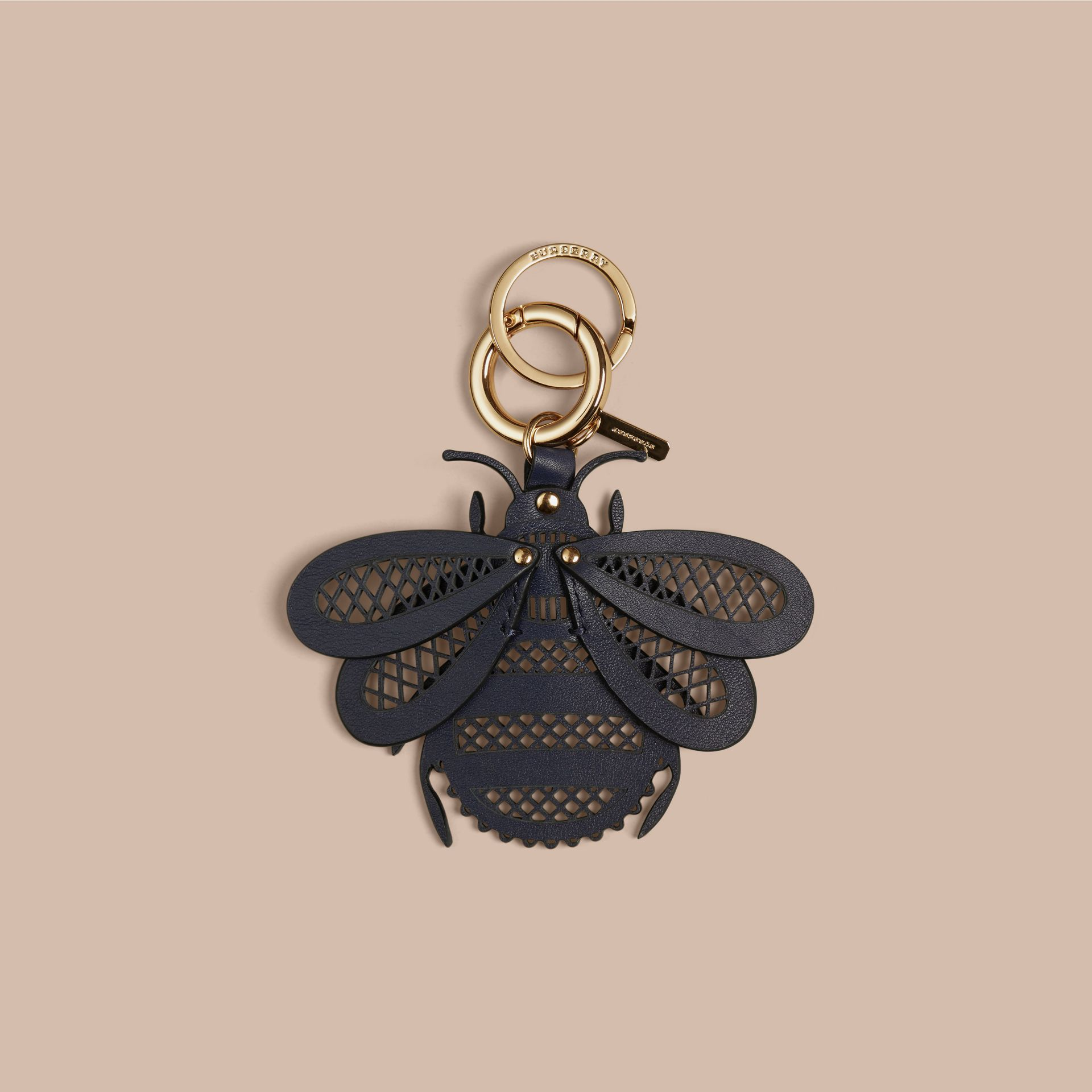 Brilliant navy Laser-cut Leather Bug Key Charm Brilliant Navy - gallery image 1
