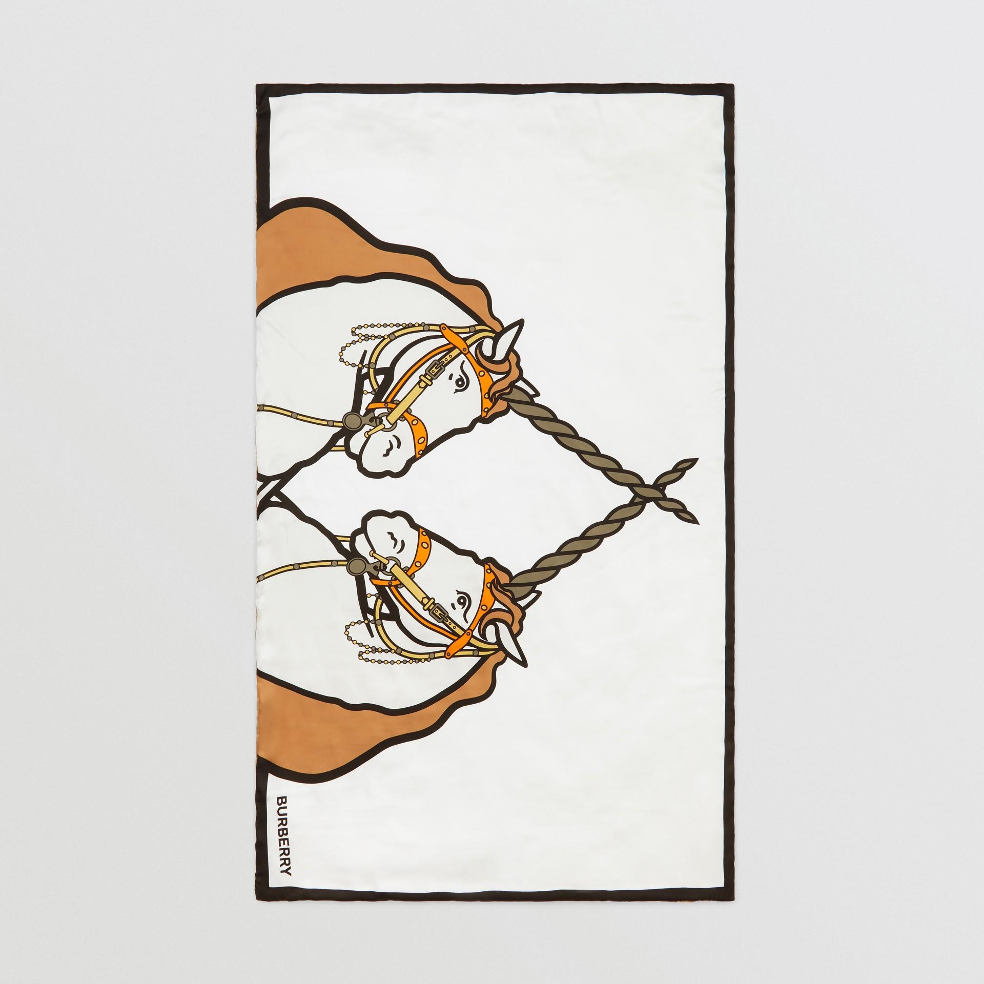 Unicorn Print Monogram Silk Satin Jacquard Throw in Camel | Burberry Canada - gallery image 2