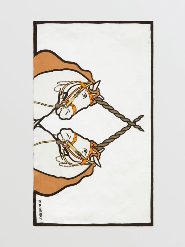Unicorn Print Monogram Silk Satin Jacquard Throw in Camel | Burberry Canada - cell image 2