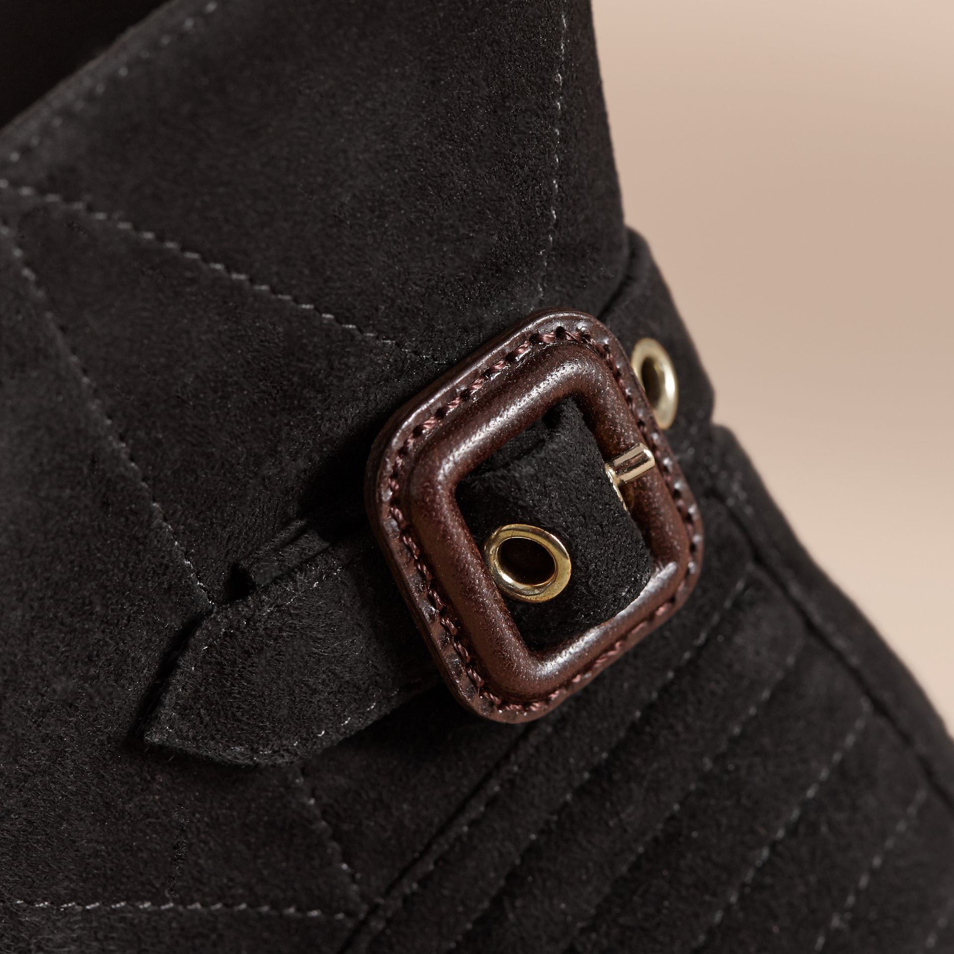 Buckle Detail Suede Peep-toe Ankle Boots in Black - Women | Burberry Australia - gallery image 2