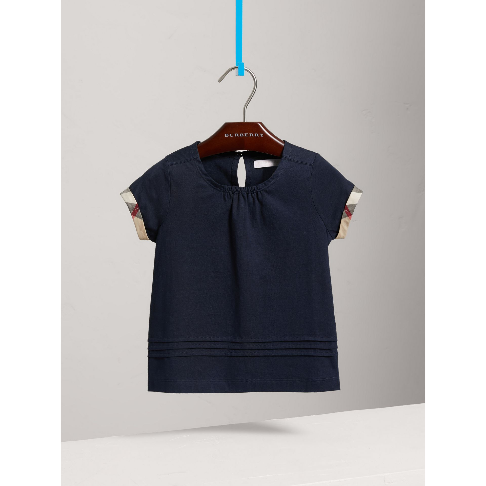 Pleat and Check Detail Cotton T-shirt in Navy - Girl | Burberry - gallery image 0