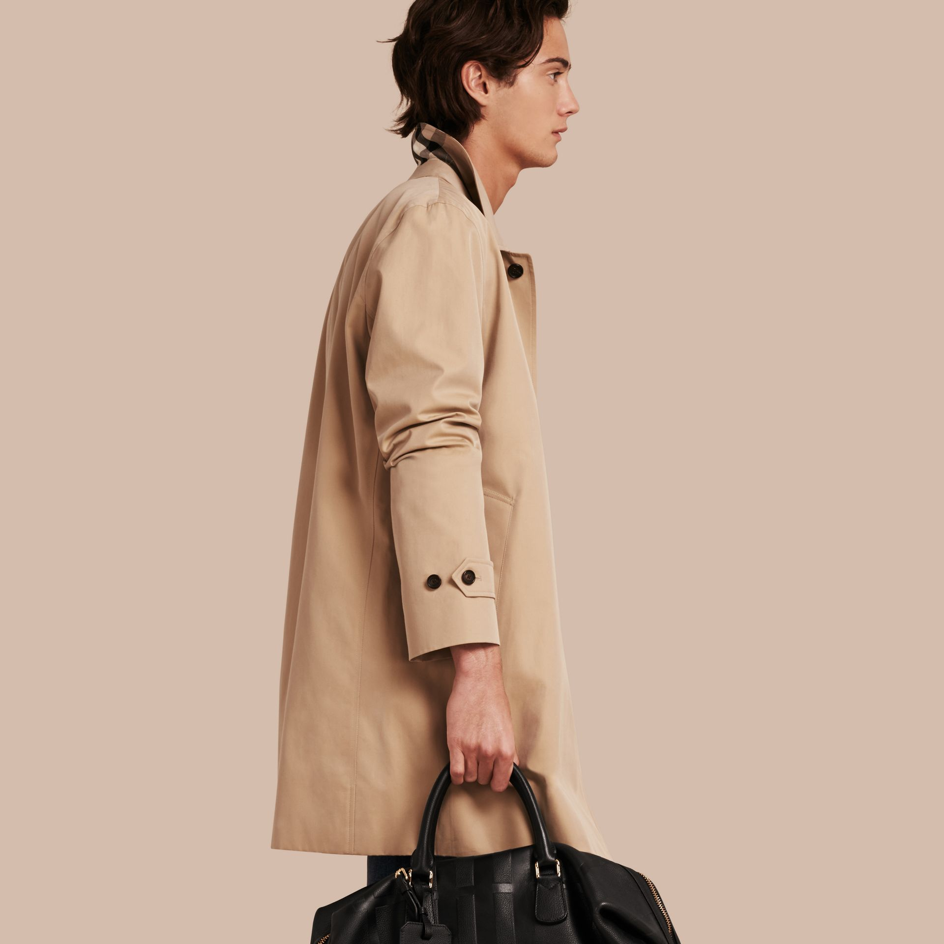 Cotton Gabardine Car Coat in Honey - gallery image 1
