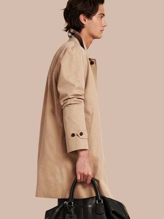 Cotton Gabardine Car Coat in Honey