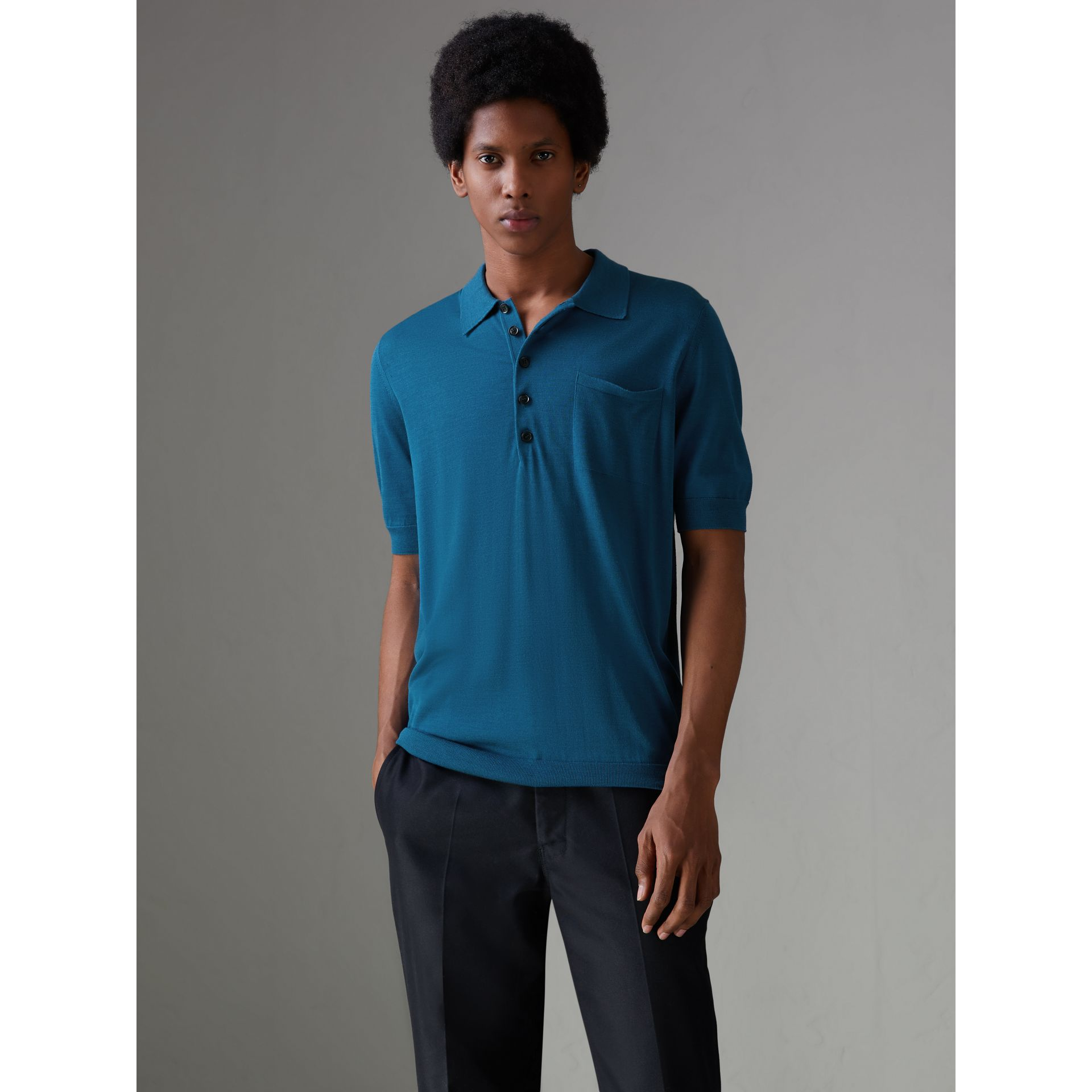 Knitted Silk Polo Shirt in Dark Teal Blue - Men | Burberry - gallery image 4