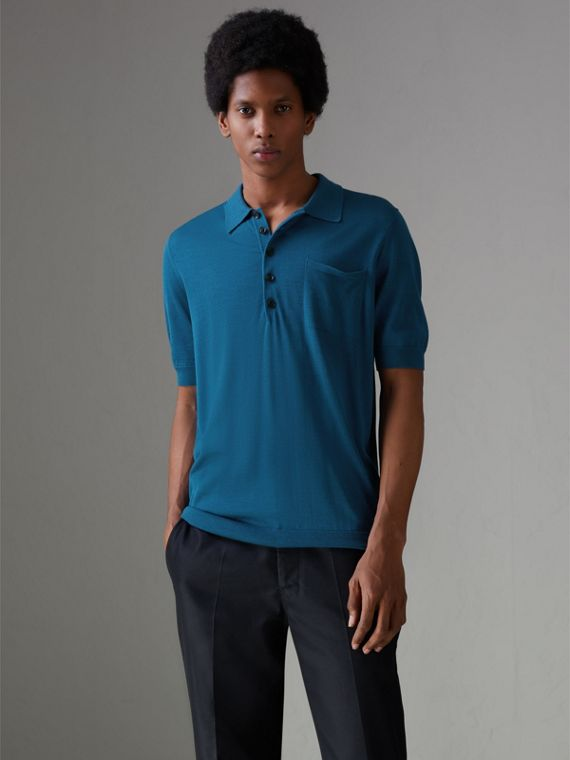 Knitted Silk Polo Shirt in Dark Teal Blue