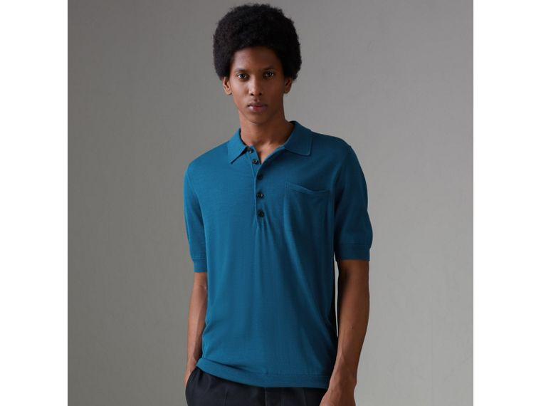 Knitted Silk Polo Shirt in Dark Teal Blue - Men | Burberry - cell image 4