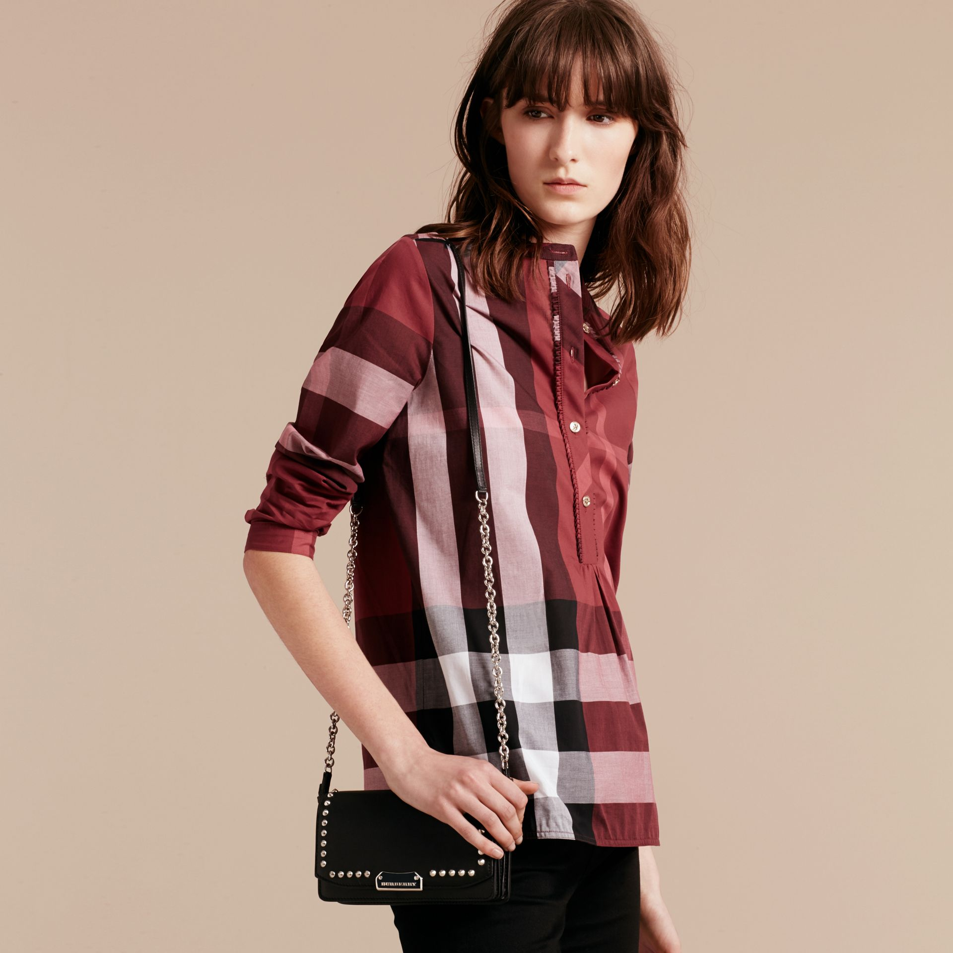 Carmine red Check Cotton Tunic Shirt Carmine Red - gallery image 6