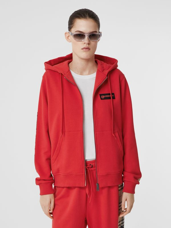 Vintage Check Panel Cotton Oversized Hooded Top in Bright Red - Women | Burberry United Kingdom - cell image 3