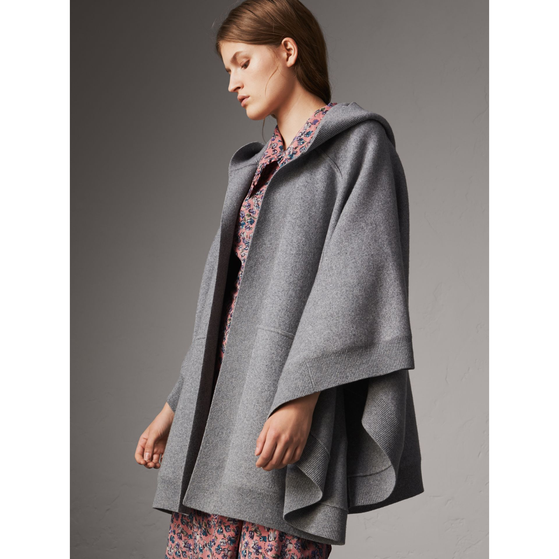 Wool Cashmere Blend Hooded Poncho in Mid Grey Melange - Women | Burberry Hong Kong - gallery image 1
