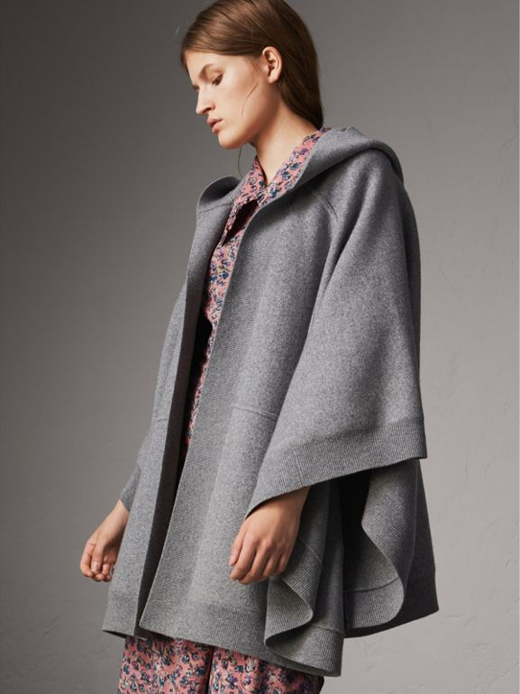 Wool Cashmere Blend Hooded Poncho in Mid Grey Melange - Women | Burberry - cell image 1