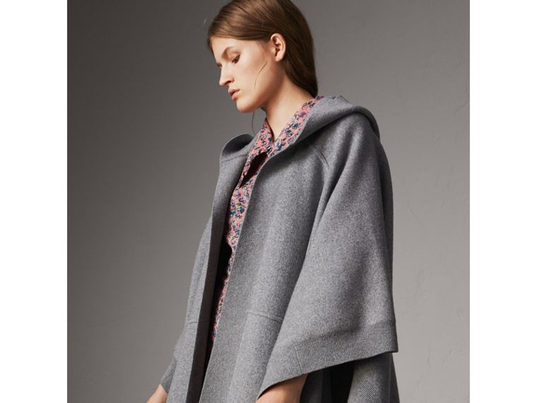 Wool Cashmere Blend Hooded Poncho in Mid Grey Melange - Women | Burberry Australia - cell image 1