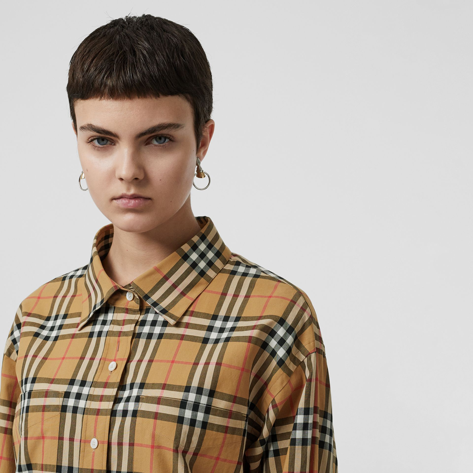 Vintage Check Cotton Oversized Shirt in Antique Yellow - Women | Burberry United Kingdom - gallery image 1