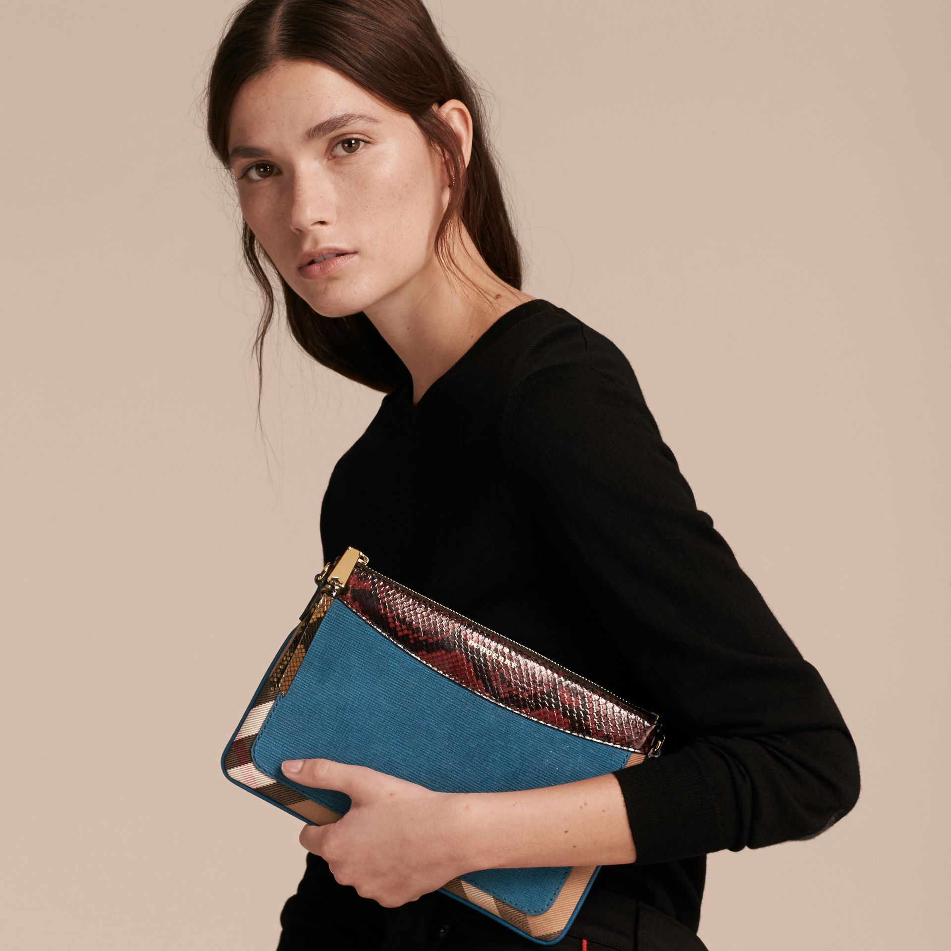 Leather, House Check and Snakeskin Clutch Bag in Peacock Blue - Women | Burberry - gallery image 3
