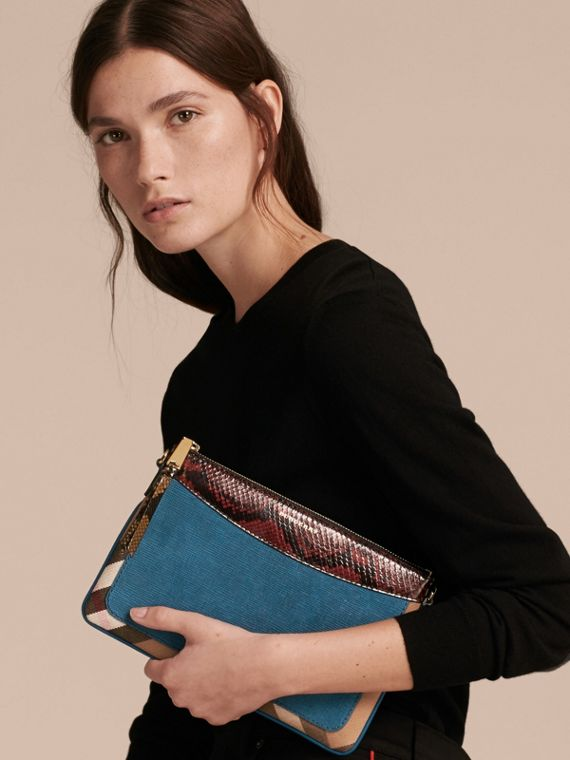 Leather, House Check and Snakeskin Clutch Bag in Peacock Blue - Women | Burberry - cell image 2